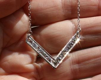 Unique Hand Engraved Sterling Silver Chevron Pendant