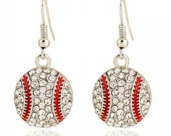Baseball Earrings- Rhinestone Baseball Earrings