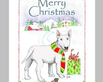 Bull Terrier Christmas card Box of 16 Cards & Envelopes