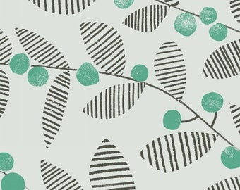 Skullan - Leaves in Good Luck Green - Follie - Lotta Jansdotter - Windham Fabrics - 1 Yard Ask a Question