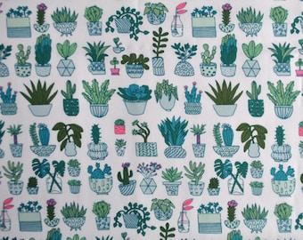 Rico Design cotton fabric fat quarter - plant print - neon accents - succulent print fabric- summer fabric