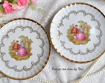 Plate set vintage gold plate set Bavaria Germany dessert plate set german porcelain 22 carat gold plate set for two