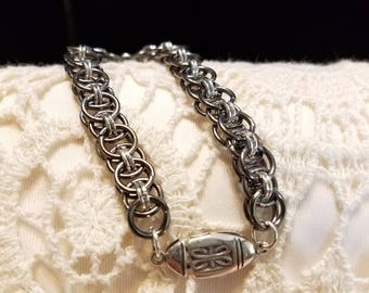 Silver and Gunmetal Chain Maille Bracelet