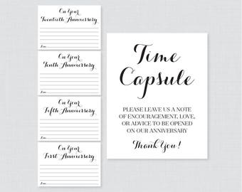 Printable Wedding Time Capsule Activity - Black and White Advice for the Bride and Groom - Calligraphy Wedding Reception Game/Activity 0005