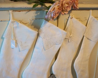 Christmas stockings, 4 white or cream linen christmas stocking, vintage handkerchiefs, personalized