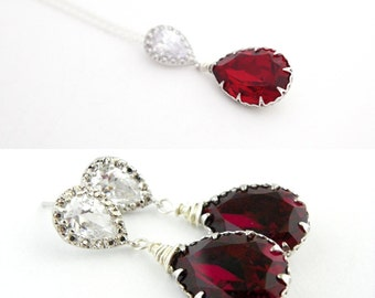 Marsala Jewelry Set, Siam Red Bridal Earrings and Necklace, Cranberry Wedding Ideas, Swarovski Teardrop Bridesmaid Jewelry,  Gift for Prom