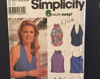 Simplicity pattern 9697 women's halter tops, sizes 14-20