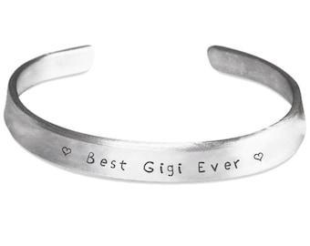 Gigi Bracelet - Best Gigi Ever- Gigi Jewelry Present - New Gigi Gift - Gigi Gift Idea For Birthday or Christmas - Silver Stamped Bracelet