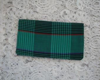 Cloth Checkbook Cover in Green Plaid Fabric, Cash Envelope, Purse Accessory, Gift Idea