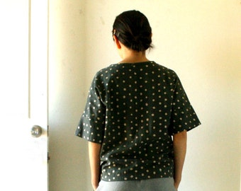 ESSIE SPOT BLOUSE / women / designer cotton / indigo / modern polka dot / summer top / plus size / oversize tee / australia / pamelatang