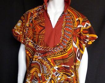 Spirit World Poncho© Vlisco African Wax Print, Caftan, Dashiki Menswear, Festival Clothing