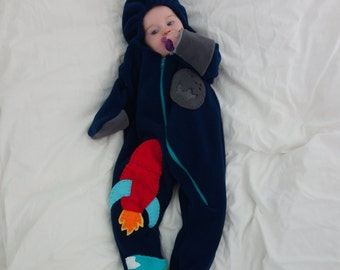 Rocket to the Moon, Ready to Ship, 3 - 9 months, one-piece coat for baby