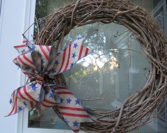 Patriotic wreath bow, wreath bow, 4th of July wreath bow, 4th of July decor, 4th of July, gift or package bow, floral bow, wreath accessory