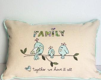 Family Bird handmade  free motion machine embroidery cushion.