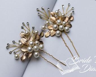 1pcs Bridal hair pins, pearl hair pins, gold hair pins with leaves and pearls