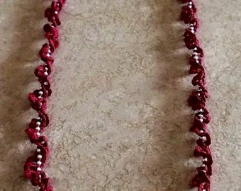 Twisted Spiraling  Ball Chain Garnet Necklace
