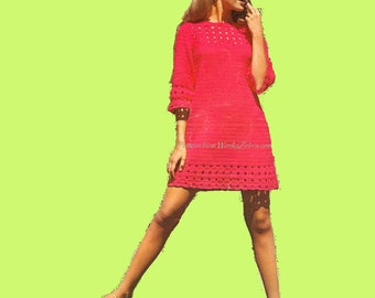 Crochet Dress Pattern Vintage PDF 084 Tunic Dress from WonkyZebra
