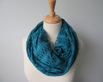 Dark Teal Lacey Infinity Scarf