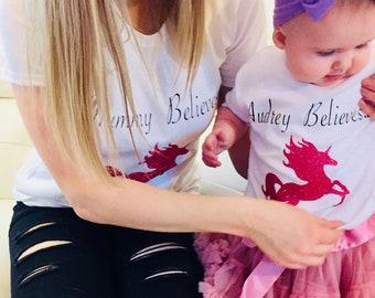 Mummy and Me unicorn/dinosaur/fairy Tshirts