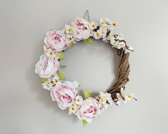 Spring pink wreath, peony wreath, all season wreath, front door decor, housewarming gift, blossom wreath, summer wreath, gift for her