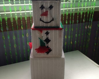 Snowman Stacker, Magical Christmas Decoration, Candy Holder, Plastic Canvas