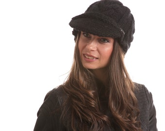 Black HAND KNIT HAT Jockey Wool Cap, Mohair Hat with Visor by Solandia unisex Equestrian early spring fashion, Knitted Cap, Knitted Gift