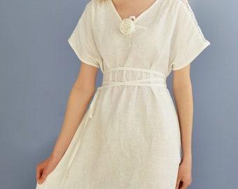 Linen Dress Long/ Linen White Sundress/Linen Boho Dress/ Beach Wear Dress/ Flax Dress Oversize/ Linen Dress Laced With Rose/ Eco Friendly