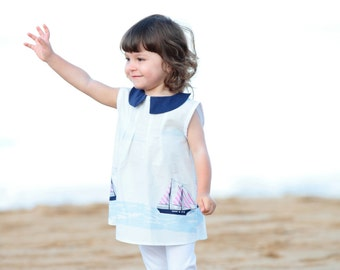 Sail boat  Girls Dress, toddler Peter Pan collar dress, beach toddler and baby dress