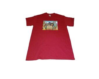 Zentangle Fox T-Shirt, Medium, Red