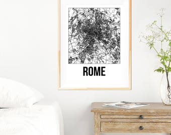Rome City Map Print - Black and White Minimalist City Map - Rome Map - Rome Art Print - Many Sizes/Colours Available
