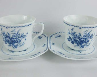 Fine Porcelain Blue Roses Tea Cups & Saucers Japan (2 SETS) #0502