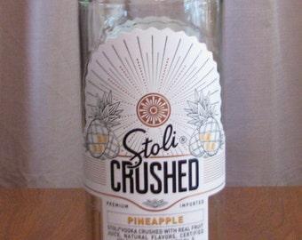 Stoli Crushed pineapple vodka 1 L bottle, bottle crafts, liquor bottle for DIY projects, empty liquor bottle, bottle for craft projects