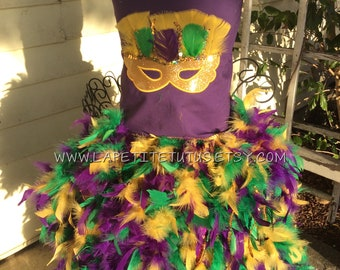 Glitter mask feather outfit, pageant dress, mardi gras feather dress, flower tutu, pageant dress, girls dress, baby dress, girls clothing