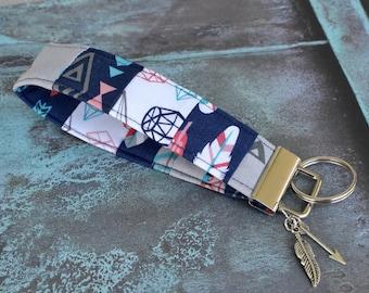 Fabric Keychain, Key Fob Wristlet, KeyFob Keychain Wristlet, Key Wrist Strap, Gift Under 10, Gift for Her, Key Lanyard