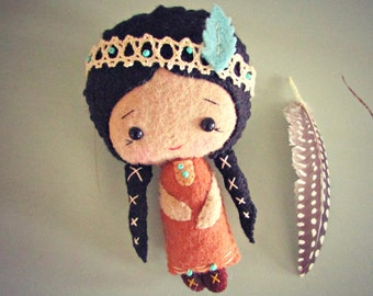 Native American Doll - Felt Doll - Small Doll - Girls Toy