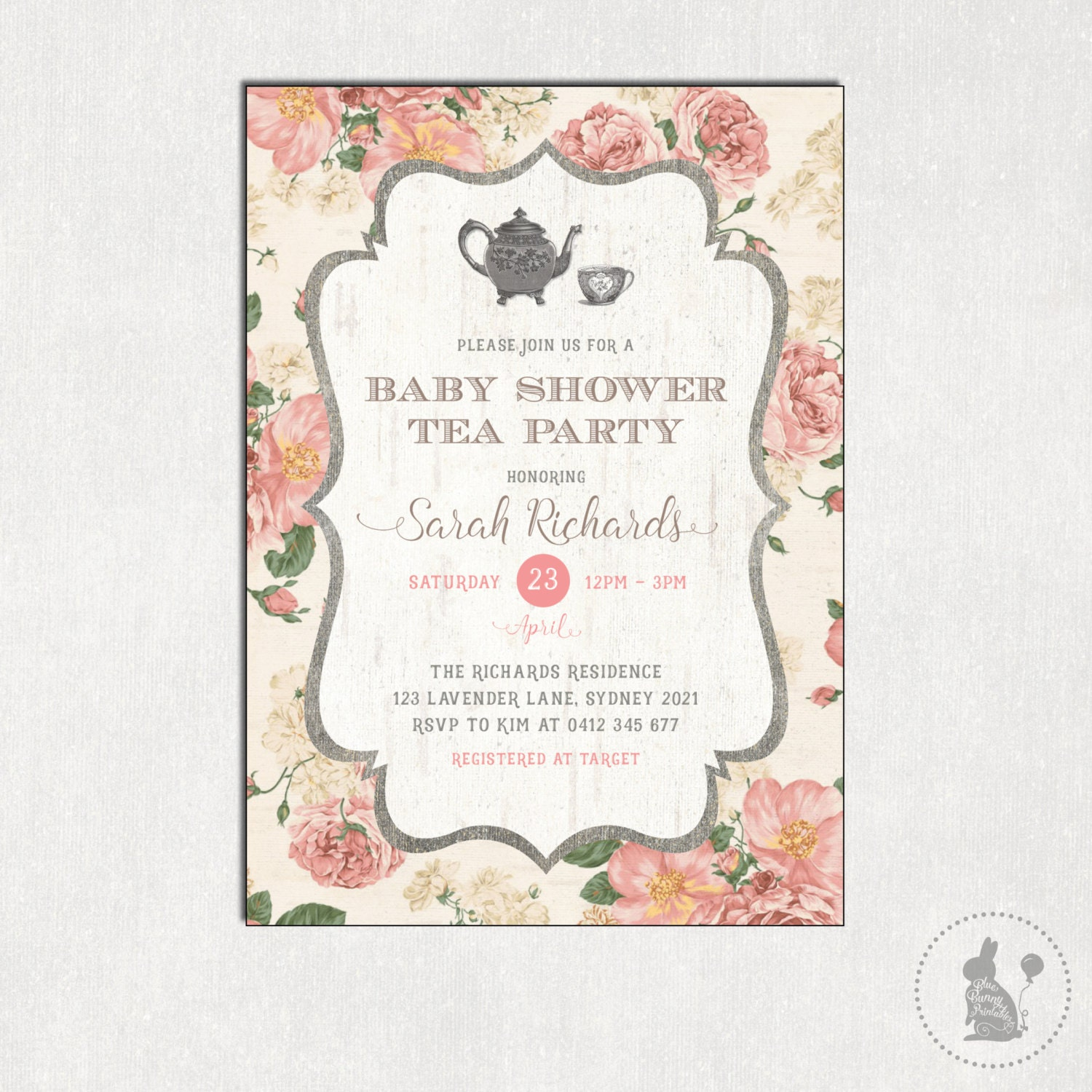 Baby shower tea party invitation vintage flowers shower zoom monicamarmolfo Image collections
