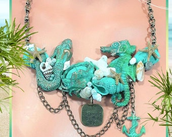 Beach Sea Shell collage Necklace, Mermaid, Seahorse, assemblage