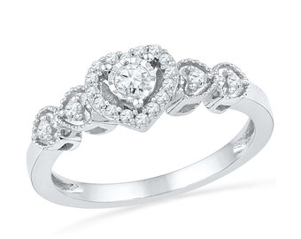 1/5 CT. T.W. Diamond Heart Ring, Sterling Silver Promise Ring or White Gold Engagement Ring