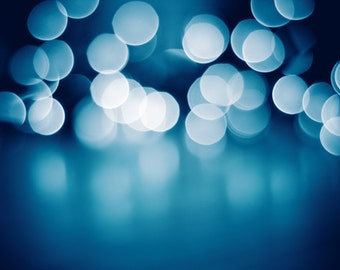 "Light Photography, abstract dark blue bokeh sparkle print circles wall art sparkly photo white modern decor photograph, ""Silent Night"""