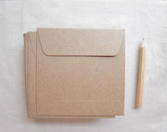 Set of 100 small kraft brown paper envelopes square 9.5cmX9.5cm .