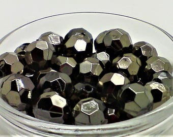 Faux pyrite/hematite beads; unusual faceted round, faux pyrite or hematite beads, 8mm, 16pcs/1.80.