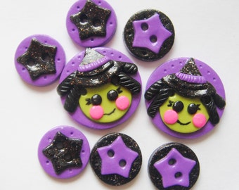 Button LaLa Witch handmade polymer clay button set ( 8 )