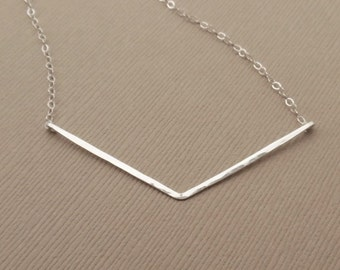 Silver Chevron Necklace, Sterling Silver, Hammered Chevron Bar Necklace, Silver V Necklace, Hammered V Necklace