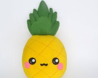 Pineapple plushie- plush toy  soft toy tropical juicy gift present - kawaii fruit food tasty veggie handmade pillow / cushion