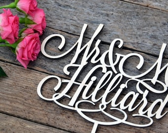 Mr and Mrs Wedding Cake Topper Personalized cake toppers for Wedding wooden cake decor suplies gold glitter