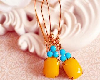 Sunny Yellow Earrings - Bridesmaid Gifts - Turquoise Earrings - Spring Wedding Earrings - Lemon Yellow Earrings - REGENCY Sunshine