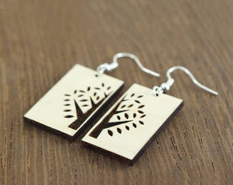 Wooden Dangle Earrings With Simple Tree, Maple Wood Earrings, Tree of Life Earrings, tree dangle earrings, wood dangle earrings