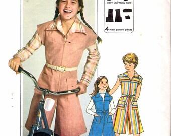 "Vintage 1977 Simplicity 8051 Girl's Jiffy Pantdress Sewing Pattern Size 10 Breast 28 1/2"" UNCUT"