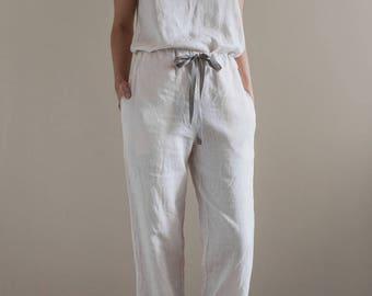 Linen sleepwear / White pajama set / Linen pyjama / Linen pants / White pajama pants / White pajama top / Womens pajamas