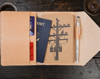 Made to Order Natural Vegetable Tanned Leather Travel Wallet Field Notes Wallet Passport Wallet Handstitched with Pen Holder Made in USA